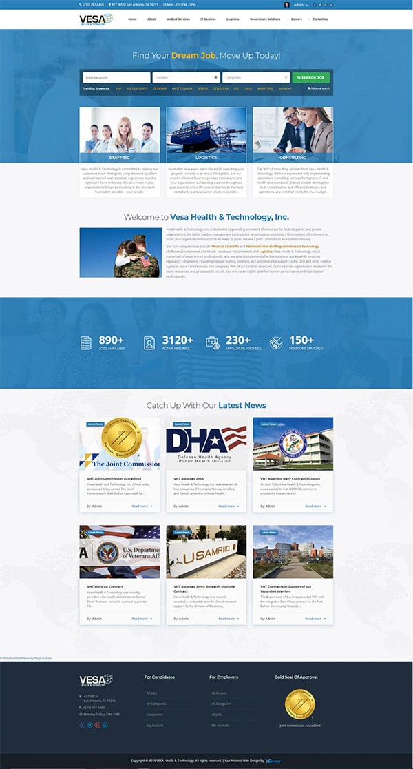 San Antonio Web Design Project - Vesa Health & Technology
